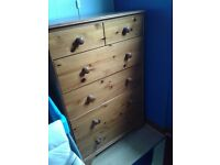 Pine sleigh double bed & large chests drawers £50 collect penicuik