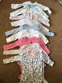 Girls 0-3 months sleep suits