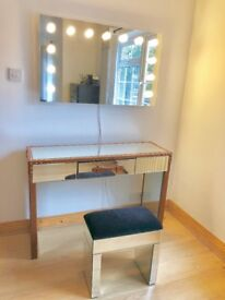 Mirror surface dressing table and bedside table