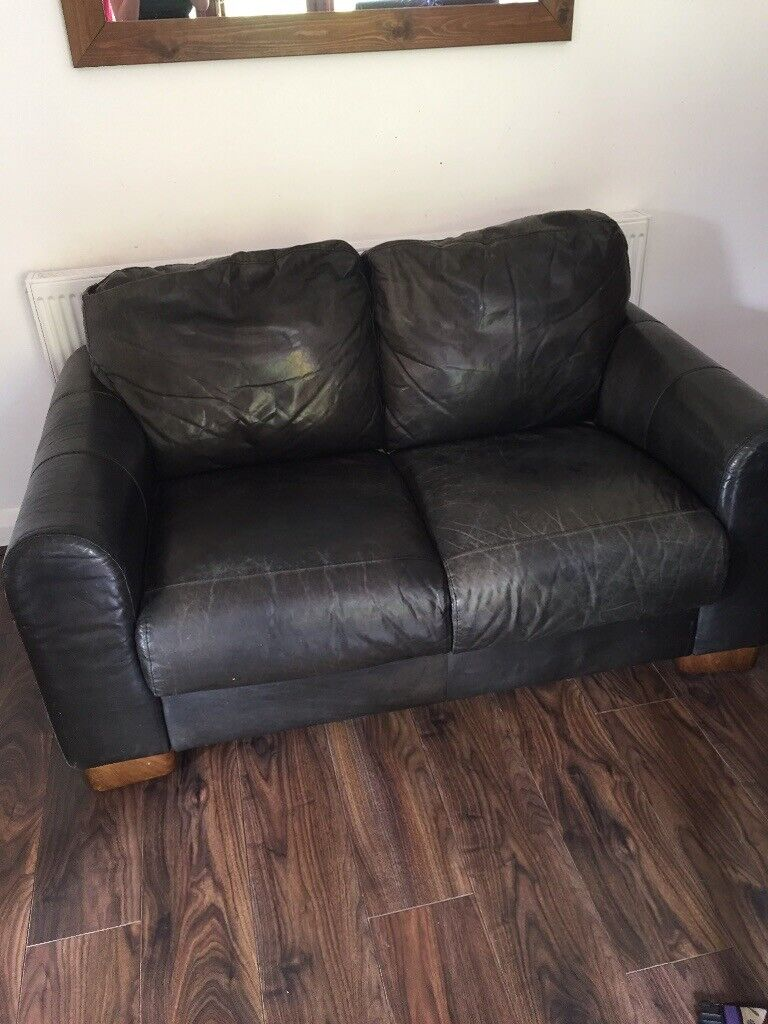 FREE black leather two-seater sofa | in Nottingham ...