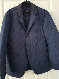 M&S Collezione Men's Quilted Jacket, Navy, Size 40