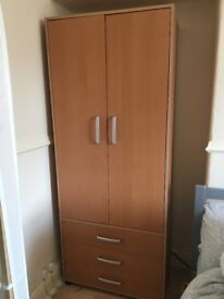Wooden double Wardrobe and chest of drawers storage