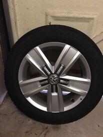 """New 4 x VW Volkswagen Davenport 17"""" Alloy Wheels & Continental Tyres"""
