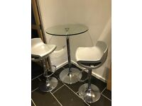 Round Glass Dining Table, Breakfast Table, Seats 2, with 2 Silver Barstools