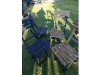 4 wooden foldable garden chairs