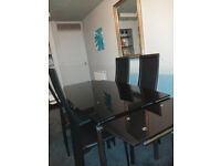 Smoked Glass Dinning Room Table + 4 Chairs