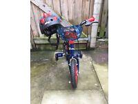 Boys spider man bike with spider man helmet