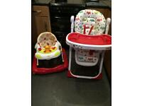 High chair & baby walker (possible could drop off for asking)