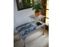 SUPER BEAUTIFUL LONDON UPCYCLED PHONE TABLE/ hallway bench- done with huge love!