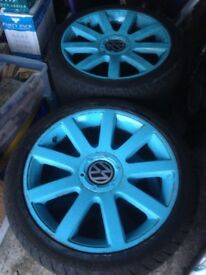 4 x VW T4 Alloy wheels painted light blue