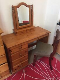 Dressing Table with Drawers, Mirror and Chair