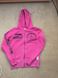Pink Womens Cross Hatch Zip Up Hoodie Top