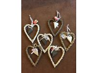 Wedding decorations, unused - wicker hearts, hanging butterflies, fake vine, small baskets