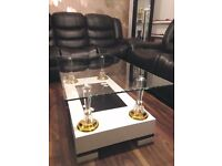 Brand New High Gloss Coffee Table with Wooden Base and Clear Glass top, High Quality