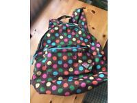 Roxy brown coloured polka dot spot rucksack
