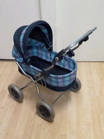 Mamas and Papas children's doll's pram with hood and folding frame