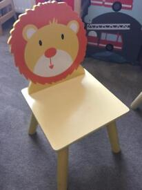 Kids wooden table and animal chairs