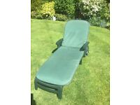 Pair of Green Jardin Sun Loungers with matching cushions
