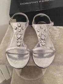 Silver wedge sandals Dorothy Perkins size 5