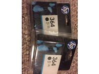 Two New in Box Genuine HP 364 Black Ink Printer Cartridge