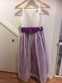BHS Wedding Purple And White Girls Formal Evening Dress / Flowergirl With Butterfly's, Age 12