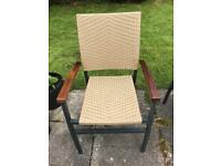 Set of 4 Hardwood, Rattan effect stackable chairs