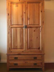 Pine 2 door, 2 drawer wardrobe.