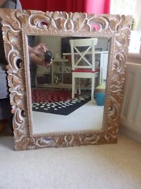 Wall Mirror/ Wooden Carved Frame/ 23 x 27.5 ins/ Very Pretty/ Great Condition