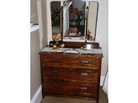 Antique oak dressing table/dresser with triple mirror.