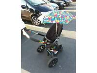 Black and Multi Colour Quinny Modd Pushchair