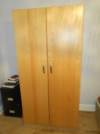 Ikea Pax 2 Door Free Standing Wardrobe, 200Wx100Tx60D Used, Rail plus 2 shelves, collection only
