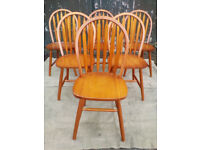 Six Solid Pine 'Hoopback' Dining Chairs - *Free Local Delivery