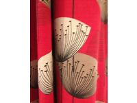 JOHN LEWIS RED DANDELION CURTAINS 228 X 228 PRISTINE CONDITION