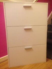 Brand New JYSK White Wooden 3 Tier Fully Assembled Shoes Storage Drawer Cabinet - Excellent, Unused