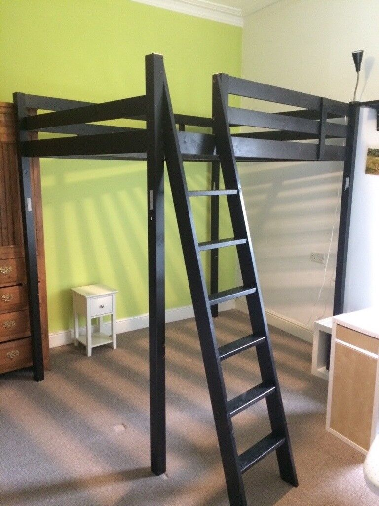 Ikea Stora Double Loft Bed Frame Black
