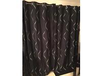 Black / Silver 90 x 90 Curtains + Pole