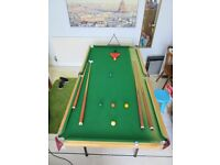 6ft Snooker Table complete with legs, balls & cues