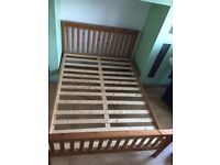 Pine double bed frame, medium rise