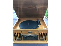 Daklin retro wooden CD, Cassette and Vinyl Record Player