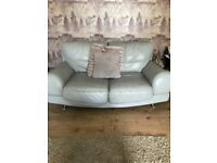 Two and 3 seater sofa with matching footstool