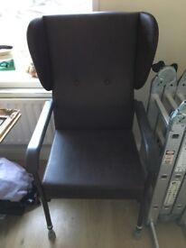 Faux leather chocolate coloured mobility chair