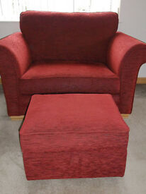 Alstons Vermont Snuggler Chair- Love seat.AS NEW.with matching storage footstool