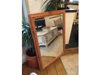 Vintage Pine Large Bevelled Pine Framed Mirror