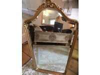 Vintage Gilt Bevelled Mirror Ornate and Heavy wonderful