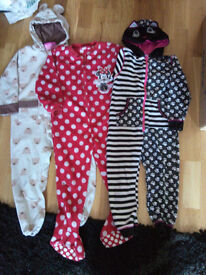 Girls 4-5 yrs Onesie Bundle Disney, Minnie Mouse, Cat