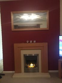 Oak look and cream electric fire and surround