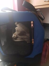 Material pet carrier with thermal blanket