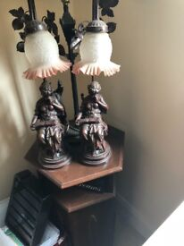 Bronze lamps with table