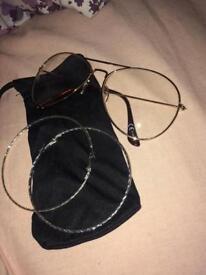 Hoop earrings and sunglasses