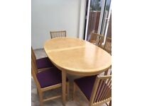 Ikea light beech extendable dining table and 6 matching chairs